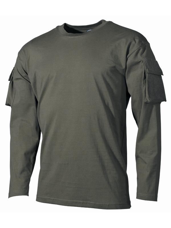 15482c61f48ff US tričko , dlhý rukáv , vrecko na rukáve , olivové - RVC Klement.sk