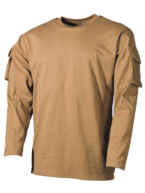 f26e2139b8504 US tričko , dlhý rukáv , vrecko na rukáve , coyote - RVC Klement.sk